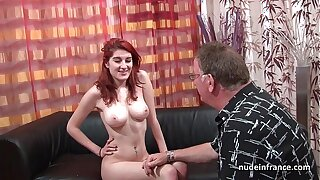 Huge-chested french sandy-haired honey deep anal invasion porked with jizz on egghead for her audition bed