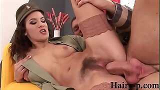Army girl gets fucked by big dick in will not hear of hairy pussy