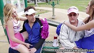 Teen Cheerleaders Dad's Agree Roughly Swap Daughters - DaughterSwapHD.com