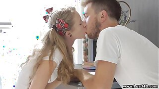 LustHD Blonde Russian student teen fucks the brush boyfriend