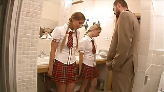 Fortuitous teacher finds two stunning schoolgirls Mina with the addition of Morgan Moon then anally fucks them