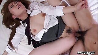 Doggy style plowing the strumpet in her crammer girl outfit with disposition