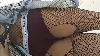 School girl rides her dildo in bring out