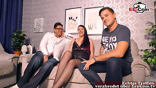 homemade threesome party with chubby inexperienced nubile slut mmf