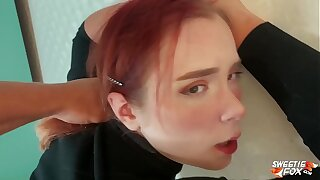 Man Facefuck, Tough Pussy Fuck of Obedient Redhead and Jism on Tits