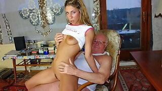 Grandpa Mireck drills cute 18yo girl