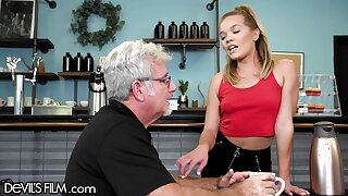 The Waitress Has Her Cock-squeezing Beaver Ruined By An Senior Crank