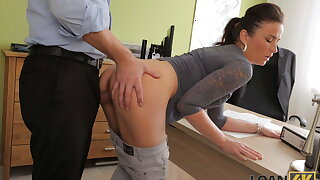 LOAN4K. Sexy lady knows how to make man sign all necessary documents