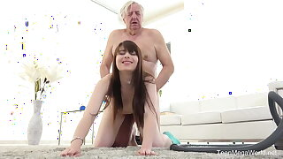 TeenMegaWorld - Old-n-Young - Old man makes bombshell get on all fours