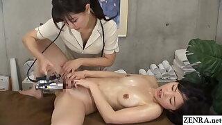 Chinese lesbian rubdown – naked customer gets fingering treatment