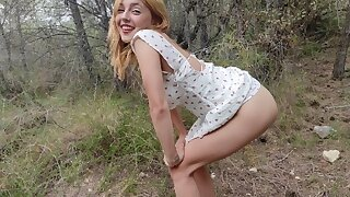 Hard abusing a petite blonde teen in the forest painfully